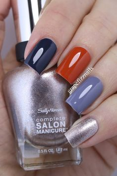 I have another skittle mani to share with you today. On my pointer finger I am wearing Sally Hansen Tropic Thunder . Fabulous Nails, Gorgeous Nails, Pretty Nails, Nail Blog, Rose Gold Nails, Manicure E Pedicure, Colorful Nail Designs, Nagel Gel, Fancy Nails