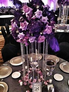 Purple Bling Wedding Center Pieces
