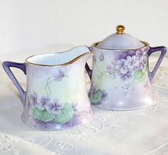 Antique O & E G Handpainted Violets Porcelain Sugar & Creamer Set- much like Hyacinth Bucket's set only she has handpainted perriwinkles. (Keeping Up Appearances)