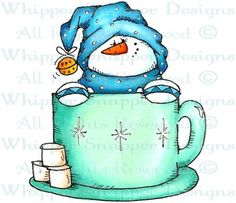 Hot Cocoa Time - Snowmen Images - Snowmen - Rubber Stamps - Shop