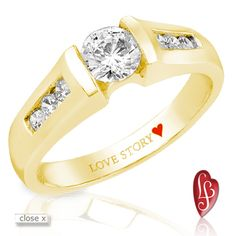 Love Story® diamond engagement ring from the Only You Collection®, carat total weight, yellow gold comfort fit mounting Diamond Engagement Rings, Love Story, Diamonds, Anniversary, Wedding Rings, Pendants, Jewels, Bride, Yellow