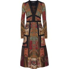 Etro - Patchwork Printed Crepe And Jacquard Dress ($963) ❤ liked on Polyvore featuring dresses, multi, bohemian print dress, jacquard dress, brown dress, boho style dresses and multi print dress