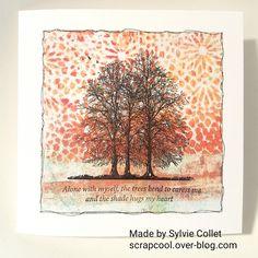 Carte arbre. fond fait avec la Gelli Plate et peintures. tampons Crafty Individuals.