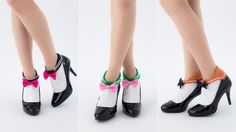 Sailor Moon Socks - Little sailor suits. Different tunic colors. Big bows. These are just about perfect.