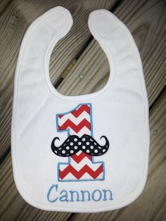 Personalized Mustache 1st birthday bib. Girl boy 1st by babymodern, $17.00