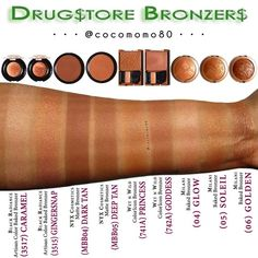 My Collection @cocomomo80 • Drugstore Bronzers • Swatches of various drugstore bronzers (on dark skin) • Check out my previous posts on Pinterest (Makeup-aholic: A Beautiful Addiction) and/or Instagram (cocomomo80) page for individual swatches.