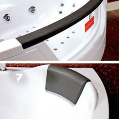 The bathtub is made of high quality sanitary acrylic. Thanks to the physical properties, perfectly retains heat !. Perfect design, white surface with black headrest and panel with glass! - £999 #bathtub #big #hottub #bath #cornerbath #headrest