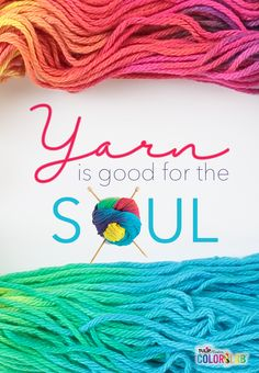Yarn is good for the Soul…especially this beautiful rainbow yarn we created using Tulip Custom ColorLab available exclusively at JoAnn stores. Knitting Humor, Crochet Humor, Knitting Yarn, Knitting Patterns, Crochet Patterns, Knitting Quotes, Knitting Club, Knitting Needles, Crochet Crafts
