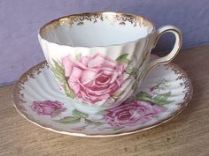 Vintage Mid Century teacup and saucer, Aynsley large pink rose tea cup, English…