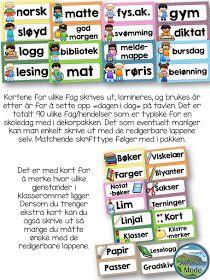 Nydelig klasseromsdekor i ti ulike farger! Alfabet- og mattestriper, kalender, fag og redigerbare navnelapper!
