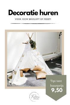 Huur deze tipi tent voor de kids op je bruiloft en ze hebben heerlijk hun eigen plekje! Wij hebben er 3 te huur! Huurprijs 9.50 per tentje. Klik op de afbeelding voor meer informatie.