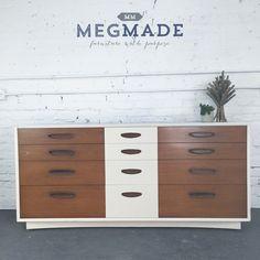 1032-00856 Mid Century White & Wood Long Dresser by megmadechicago