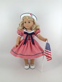 American Girl 18-inch Doll Clothes Red/White by HFDollBoutique