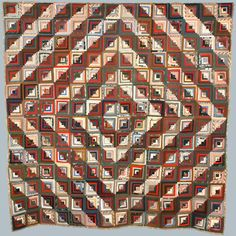 """Log cabin quilt in """"barn raising"""" pattern, Lydia Warner Atherton, Bridgeport, Crawford County, Wisconsin, ca. 1860-1900.  via: Rock County Historical Society by way of Wisconsin Decorative Arts Database"""