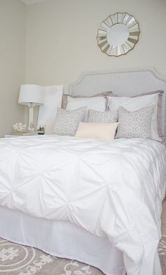 Sleep on a cloud on white bedding. Stunning bedroom with the Valencia pintuck duvet cover via Northern Belle Diaries. Pink Bedroom Design, Pink Bedroom Decor, Pink Bedrooms, Guest Bedrooms, White Bedroom, Dream Bedroom, Bedroom Ideas, Bedroom Inspiration, Spa Bedroom