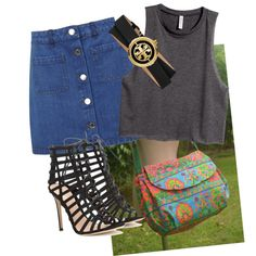 jeans look by owlnightmare on Polyvore featuring polyvore fashion style H&M Miss Selfridge Gianvito Rossi Tory Burch
