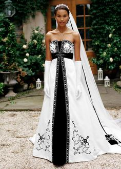 Satin A-Line with Split Front and Color Inset - David's Bridal- mobile
