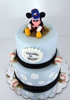 Mickey Mouse Baseball Baby Shower Cake. Prefect! Two things that I love in one!