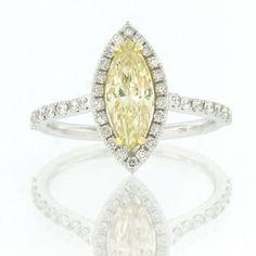 1.57ct Fancy Light Yellow Marquise Cut Diamond Ring