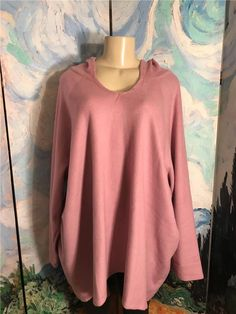 8ee44a75621 Woman Within Plus 30 32 New Pink Mauve V-Neckline Hooded Long Sleeve Tunic