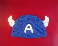 Captain America Avengers Inspired Handmade Crocheted Beanie Hat/Boy's Christmas Gift by LightsCameraCrochet on Etsy