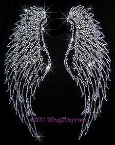 Clear Crystal Angel Wings - Iron on Rhinestone Transfer Hot Fix Bling Applique - DIY. $9.99, via Etsy.