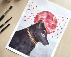 Isn't the wolf majestic & mystic? I painted this fenrir for the #scandychallenge - a draw this in your style challenge. @scandygirl is an awesome artists and creates amazing animal and mystical paintings. It was the first time I painted fur & struggled a bit with it. But I absolutely love the final result. The red moon in the background is inspired by Zelda - Breath of the Wild. I especially like the smashed pieces & splatters on the moon. #watercolor #fenrir #dtiys #painting #art @Phenuxela… Painting Art, Watercolor Paintings, Painted Fur, Red Moon, Zelda Breath, Style Challenge, Breath Of The Wild, White Ink, Comfort Zone