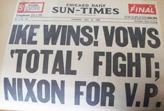 Headline from 1952 Republican Convention, Glen Dumke Papers.