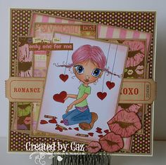 For my card I have used an image by Krista at Saturated Canary, it is called Making Valentines which I have coloured with Copics using the following colours...  Skin - E000/E00/E11/R20  Eyes - B21/B23  Hair - R81/R83/R85  Hearts - R37/R39  Clothing - B93/B95/B97/YG11/R81/E23/V15