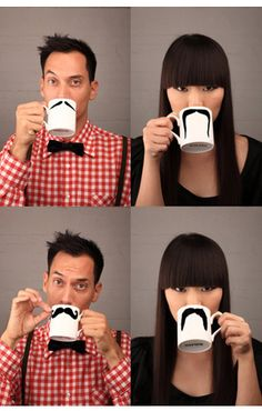 "mustache mug  ( )_( )   (='.'=)   ("")_("") Just too cute!"