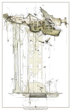 reminds me of Dali. architecture sections | DAN SLAVINSKYA SERIES OF DRAWINGS FROM THE END OF TIME BARTLETT ...