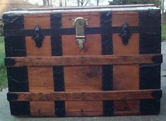 612 Large Size All Wood Restored Antique Roll Top Trunk Working Brass Lock & Key, Original End Caps and New Leather Handles Old Trunks, Trunks And Chests, Antique Trunks, Trunk Furniture, Nautical Furniture, Antique Restoration, Furniture Restoration, Trunks For Sale, The Man Show