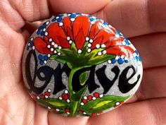 Brave / courage / strong / painted rock / Sandi by LoveFromCapeCod