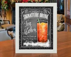 For those who have a long night of some assembly required ahead of them...treat yourself (and your Party Guests) to a concoction of Jack Daniels, Orange Juice, Ginger Ale and Grenadine to keep your Elf-like toy building talents at full tilt!  8 x 10 Signature Drink Sign | Toy Maker Cocktail Sign Unframed, Laser Printed Art on Card Stock  AS IT IS The base price of this listing is for the sign pictured in the first image (PIC #1) of this listing, as it is, with NO CHANGES to the header, text…
