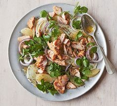 Hot-smoked salmon & grapefruit salad. A zesty no-cook salad with chunky fish fillets, fennel and watercress, and a honey mustard dressing