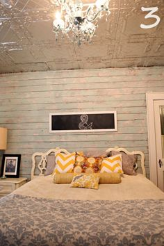 rustic-chic-cottage-headboard #headboard #sign #bedroom LOVE joining two twin headboards! Gives me great idea to use extra twin headboard we have. Also love the long sign chalkboard ROMANCE!