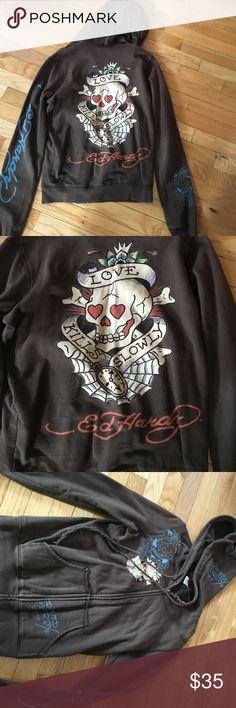 Ed Hardy Hoodie Zipper up never worn in perfect condition Ed Hardy Tops Sweatshirts & Hoodies