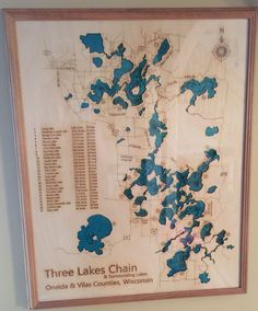 Three Lakes, Wisconsin three lakes chain Chain of lakes Three Lakes, Fishing Boats, Wisconsin, Vintage World Maps, Cottage, Boating, Places, Gifts, Travel