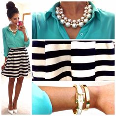 Striped black and white skirt,turquoise shirt,white pumps.adorable little work outfit.love her taste!