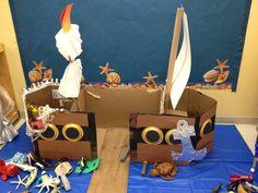 Preschool Ideas For 2 Year Olds: Preschool pirate ship project Más Preschool Pirate Theme, Pirate Activities, Preschool Activities, Dramatic Play Area, Dramatic Play Centers, Pirate Day, Pirate Birthday, Role Play Areas, Thanksgiving Preschool