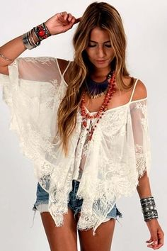 Carefree wanderlust modern hippie chic cold should sheer top blouse with cut off jeans shorts and stacking gypsy bracelets and layered necklaces for  boho chic free spirit look. For the BEST bohemian fashion trends FOLLOW > https://www.pinterest.com/happygolicky/the-best-boho-chic-fashion-bohemian-jewelry-gypsy-/ < now.