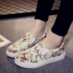 Canvas Lazy Floral Thick Heel Shoes from Femaleo. Shop more products from Femaleo on Wanelo.