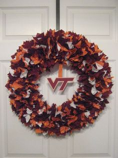 Virginia Tech Hokies fabric wreath
