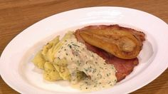 Ham with pear and cider sauce