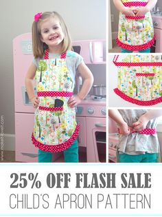 """A quick """"Child's Apron"""" pattern FLASH SALE....25% off.  Ends tomorrow! (11/22/14)"""