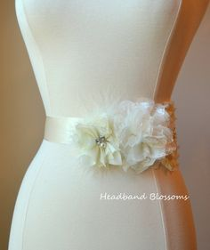 Items similar to Stunning Ivory Chiffon Lace Flower Maternity or Bridal Sash Belt - Pregnancy Photo Prop - Gender Neutral - It's A Boy Girl - Satin Ribbon on Etsy Maternity Photo Props, Maternity Sash, Bridal Sash Belt, Chiffon Flowers, Stretch Lace, Pregnancy Photos, Wedding Gowns, Ivory, Dresses