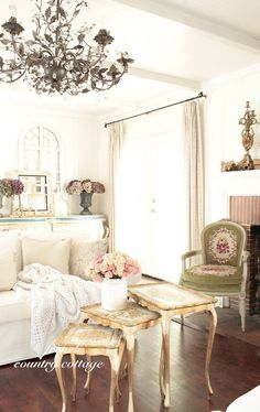 french country cottage...I want that chair!!!!
