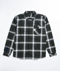 Spruce up your outdoorsy looks with the TC Everywhere green flannel shirt from Oakley. This shirt comes in a deep green plaid colorway, with a fold-down collar and button-up placket for a more traditional look, while an embroidered Oakley graphic at the collar and skull embroidered at the right sleeve cuff give the shirt a little edge. Green Flannel Shirt, Flannels, Traditional Looks, Oakley, Button Up, Goth, Skull, Plaid, Deep