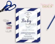Nautical blue baby shower Invitation anchor invite white and blue stripes invitation printable shabby baby blue diy silver glitter by DesignedbyDaniN from Designed by Danin. Find it now at http://ift.tt/2dHbgOY!