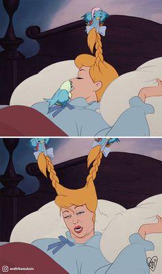 Morning Wake Up Call By Birds: Reality vs. Expectation Morning Wake Up Call By Birds: Reality vs. Funny Disney Jokes, Disney Memes, Stupid Funny Memes, Funny Relatable Memes, Disney Cartoons, Funny Humor, Realistic Disney Princess, Disney Princess Memes, Funny Princess